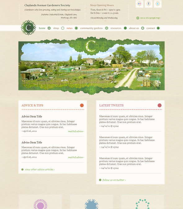 Claylands Avenue Gardeners Society ~ Homepage Design Layout