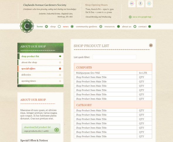 Claylands Avenue Gardeners Society ~ Shop Design Layout